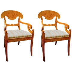 Antique Swedish Biedermeier Empire Carver Chairs In Quilted Golden Birch
