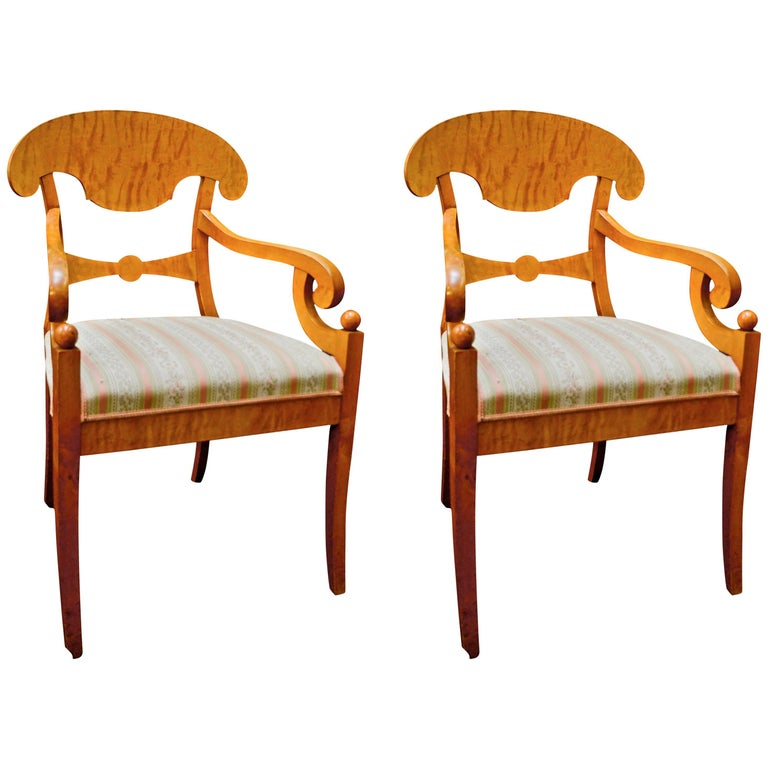 Antique Biedermeier Empire Swedish Carver Chairs in Quilted Golden Birch