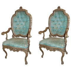 Pair of 19th Century Venetian Silver Gilded Armchairs