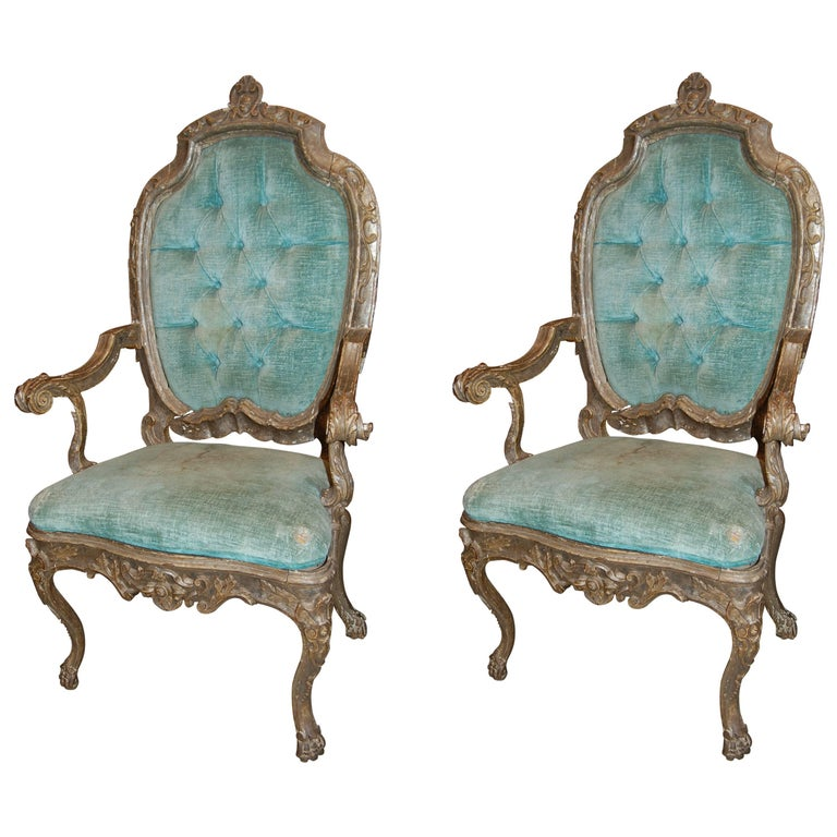 Pair of 19th Century Venetian Silver Gilded Armchairs 1