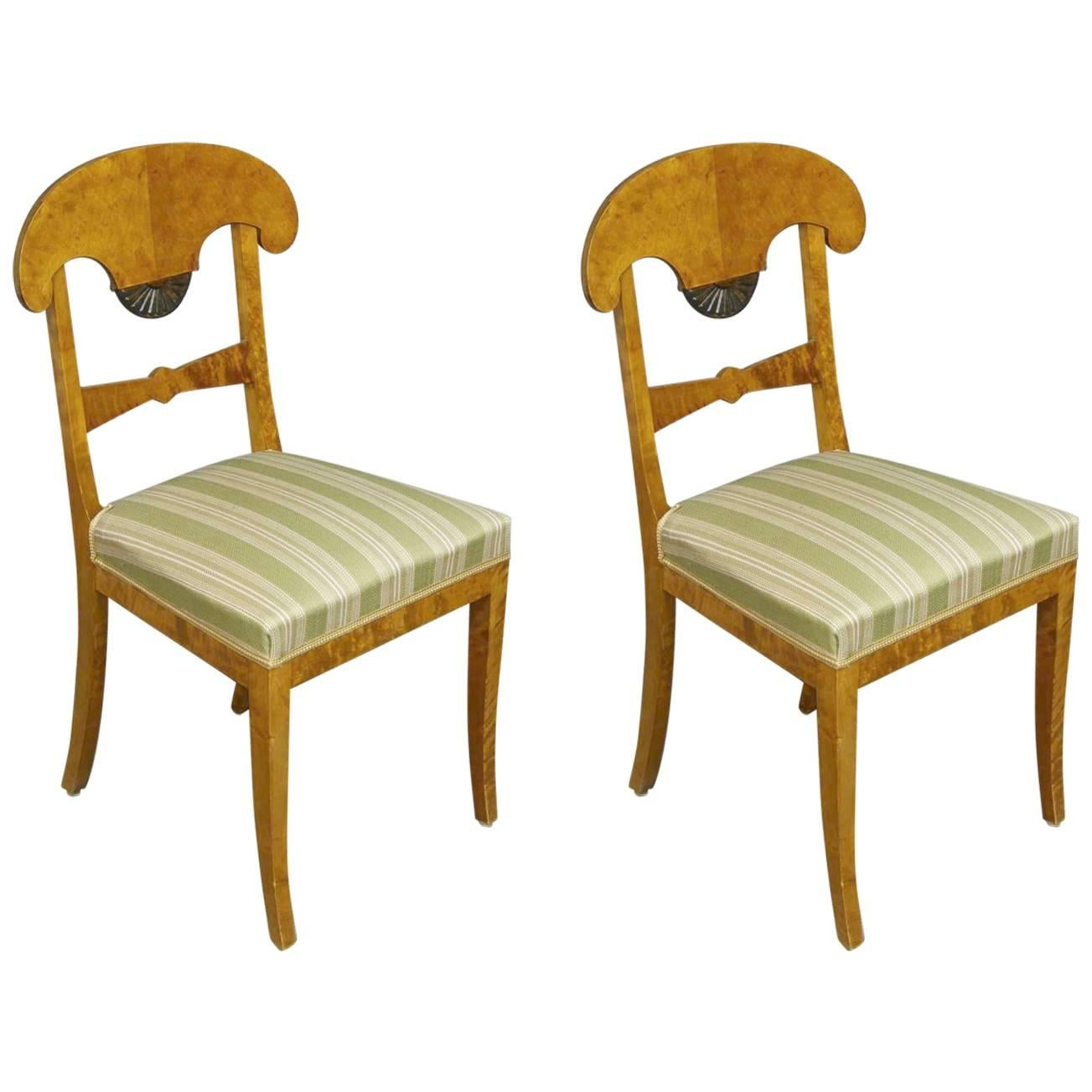 2 Antique Swedish Biedermeier Fan Motif Ormolu Style Chairs 1