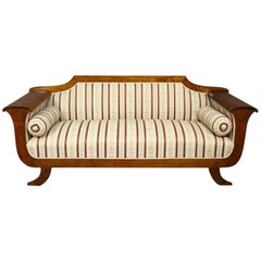 Antique Swedish Biedermeier Empire Sofa Settee 3-4 Seater Carved Arms