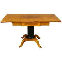 Biedermeier Empire Swedish Antique Drop-leaf Table Golden Birch Ormolu Style