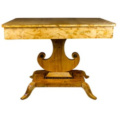 Biedermeier Empire Swedish Antique Horn Motif Table Golden Birch Ormolu