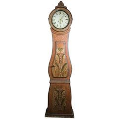 1840 Antique Swedish Mora Clock Kurbits Folk Art Faux Wood Grain Roman Numeral