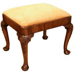 George II Style Walnut Stool with Cabriole Legs