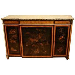Elegant Louis XVI Style Burr Yew Wood Marble-Top Cabinet with Lacquer Panels