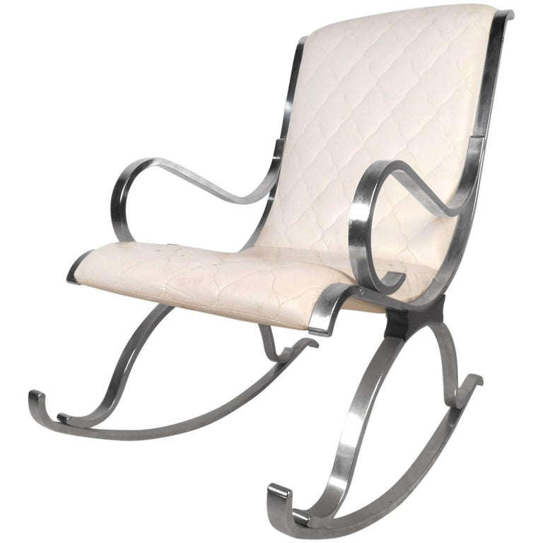 Mid-Century Modern Leather and Chrome Rocking Chair For Sale