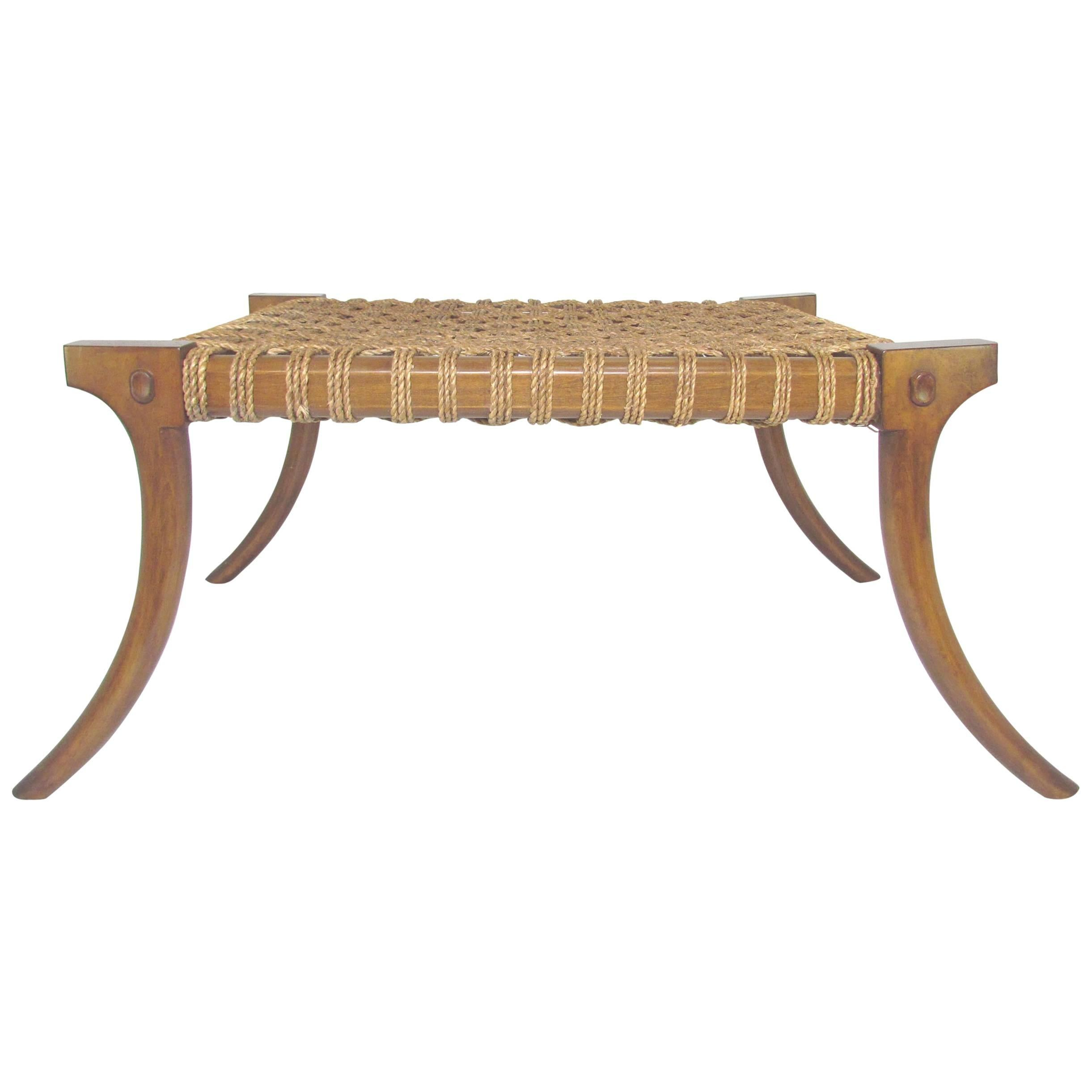 Klismos Bench Or Coffee Table With Rope Seat, Circa 1960s 1