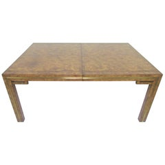 Hollywood Regency Mastercraft Burl Wood Parsons Dining Table with Two Leaves