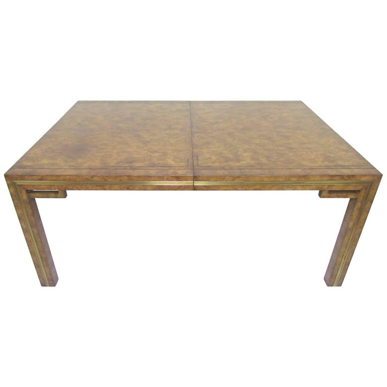 Hollywood Regency Mastercraft Burl Wood Parsons Dining Table With Two Leaves For Sale