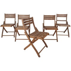 Set of Five Mid-Century Modern Wood Folding Chairs