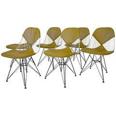 Eames Herman Miller Wire and Upholstered Eiffel Tower Dining Chairs