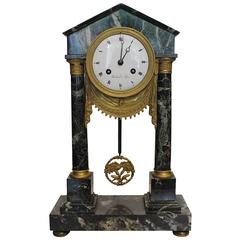 19th Century French Green Marble Portico Clock