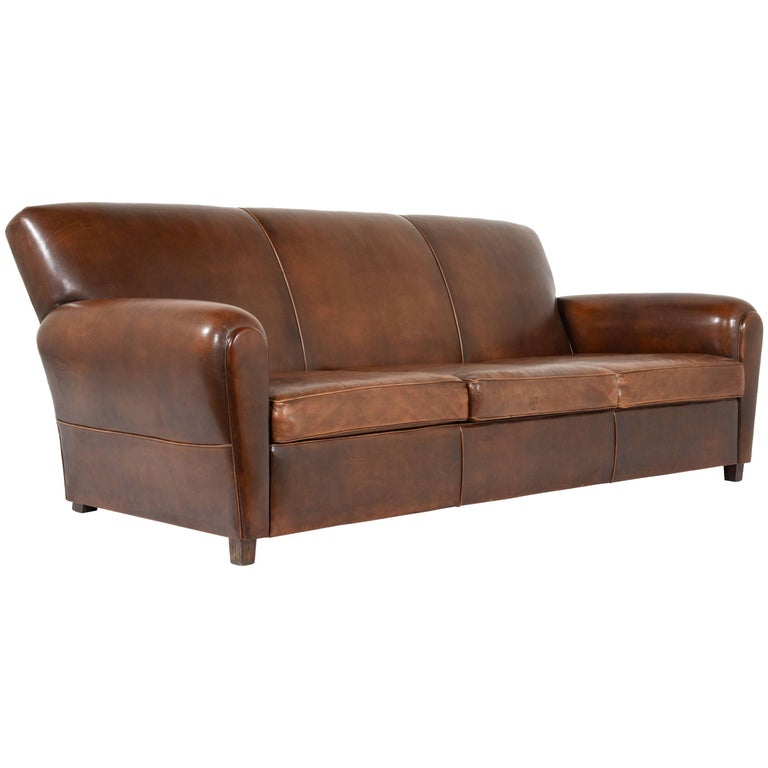 French leather art deco style sofa at 1stdibs for Art deco style sofa