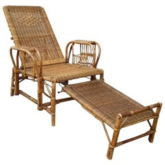Mid-Century Wicker Deck Chair with Foot Stool
