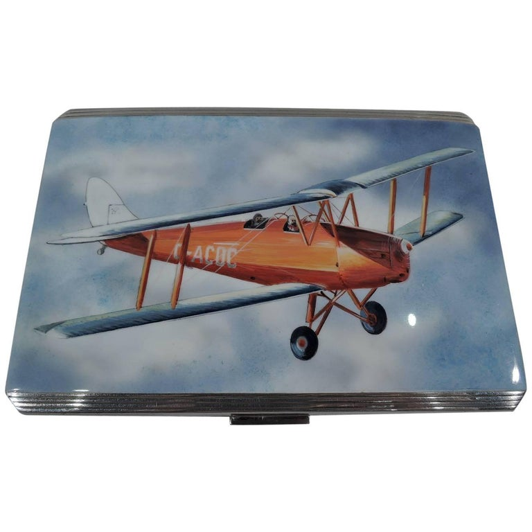 English Sterling Silver and Enamel Case with Airplane