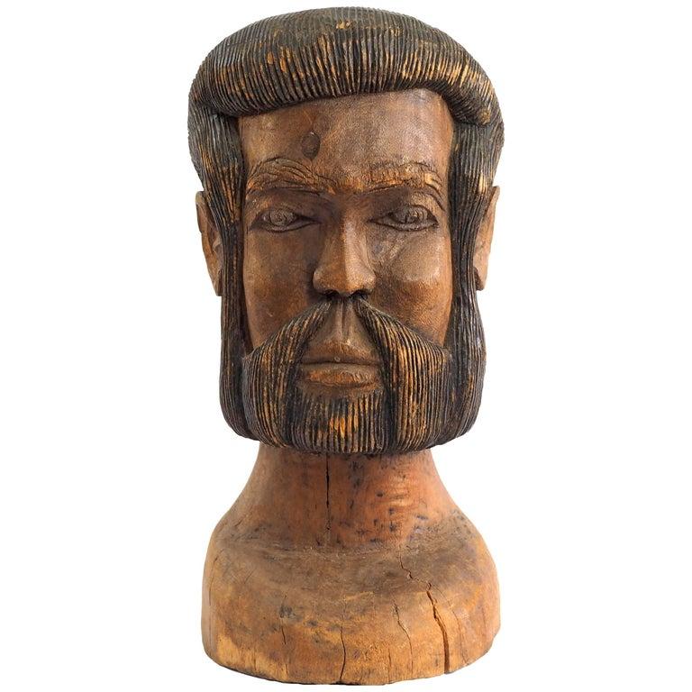 Hand-Carved Folk Art Solid Wood Bust