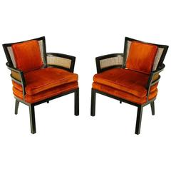 Pair of Baker Ebonized Mahogany and Cane Button Tufted Armchairs