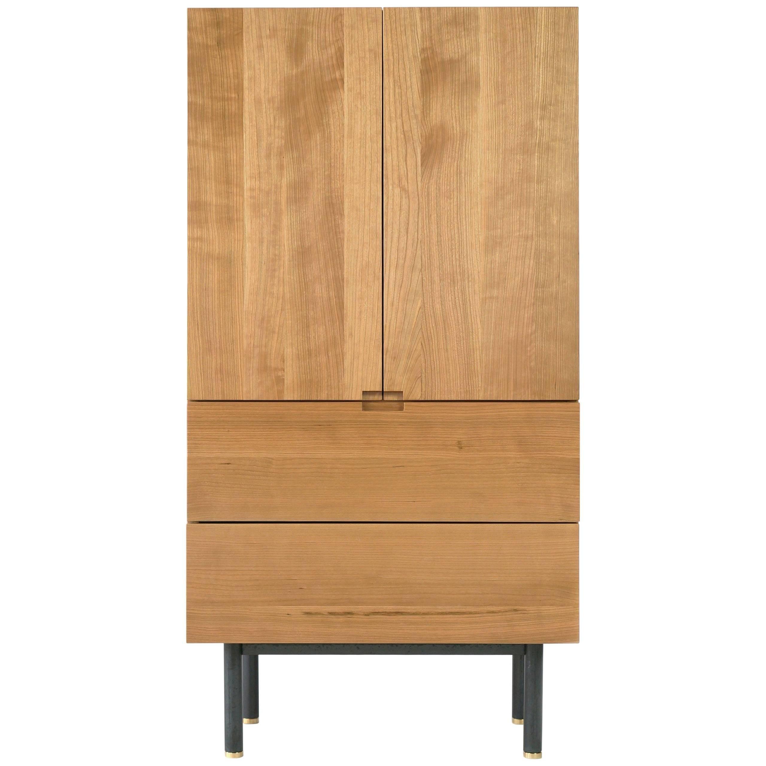Beau Ratio Contemporary Cherry Bar Cabinet For Sale