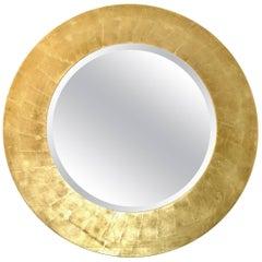 Gold Leaf Beveled Round Wood Mirror