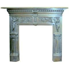 Antique English Young and Marten Burnished Steel Neoclassical Fireplace Mantel