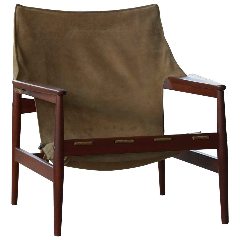 hans olsen leather safari lounge chair. hans olsen safari sling chair in teak and tan suede for viska mobler, sweden leather lounge i