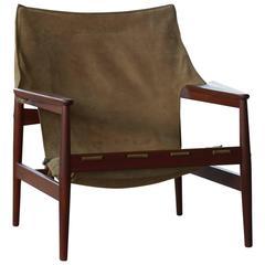 Hans Olsen Safari Sling Chair in Teak and Tan Suede for Viska Mobler, Sweden