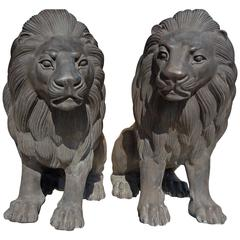Spectacular Monumental High Stylized Hollywood Regency Bronze Lion Statutes Pair