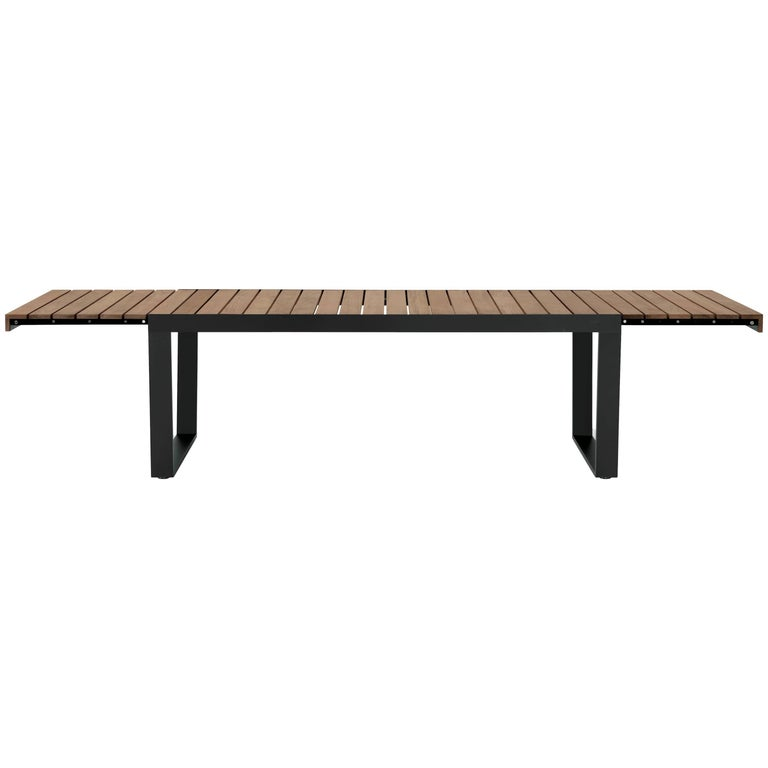 Roda Spinnaker Extendable Dining Table for Outdoor/Indoor Use in Teak and Steel