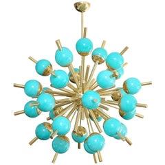 Modern Turquoise Glass and Brass Sputnik Chandelier