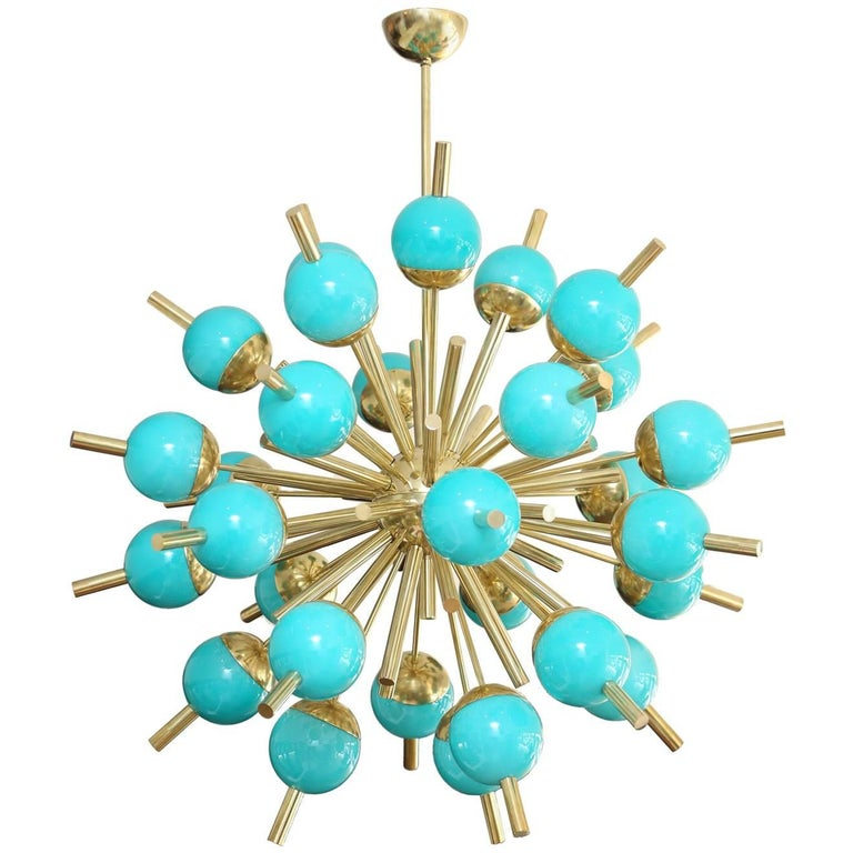 Modern Turquoise Glass and Brass Sputnik Chandelier For Sale
