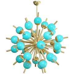 Modern Turquoise Glass and Brass Sputnik Chandelier
