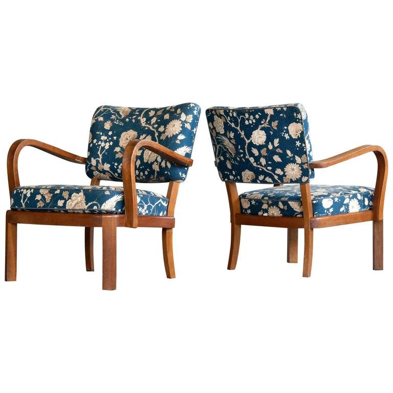 Fritz Hansen Attributed, 1940s Art Deco Danish Open Armchairs For Sale