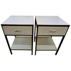 Pair of George Nelson Steel Frame Nightstands