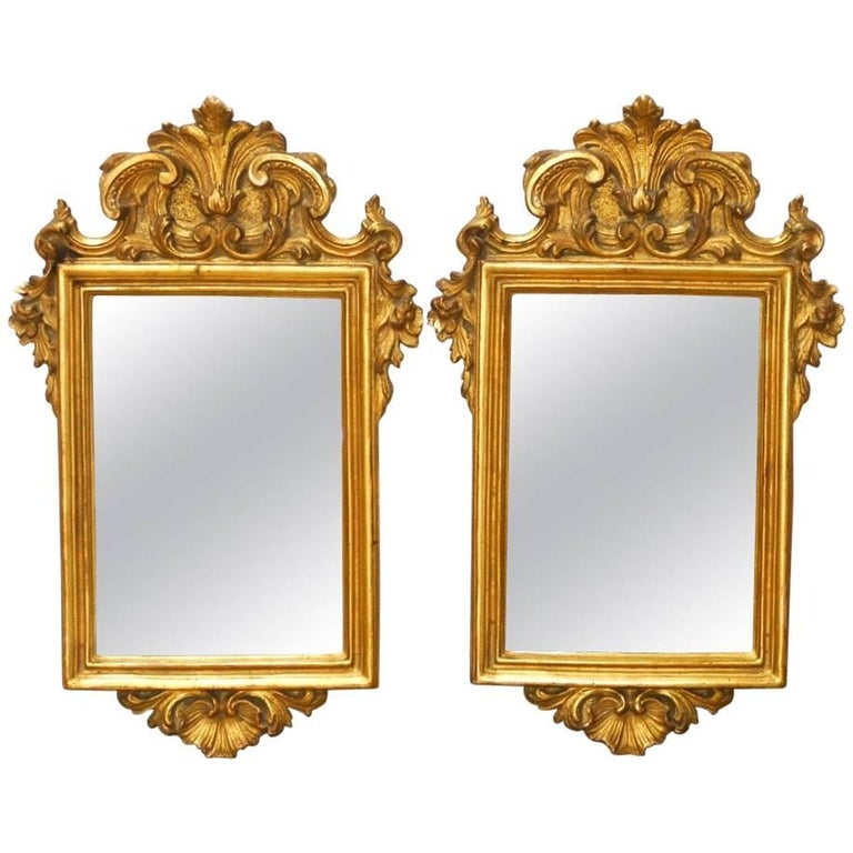Pair of Italian Rococo Giltwood and Gesso Mirrors For Sale