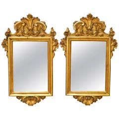 Pair of Italian Rococo Giltwood and Gesso Mirrors