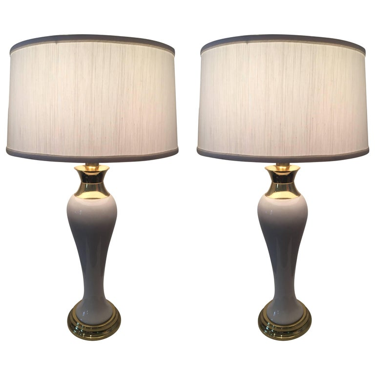 Pair of Tommi Parzinger Style Porcelain Brass Lamps