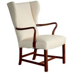 Kaare Klint Style Wing Chair in Cuban Mahogany