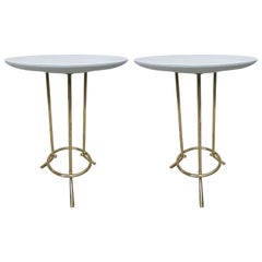 Pair of Cedric Hartman Style Brass Leather /Parchment Tables
