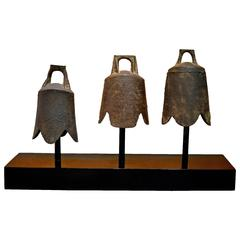 Ancient Chinese Bells Mounted in a Sculptural Application