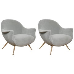 Pair of Mid-Century Italian Barrel Back Lounge Chairs