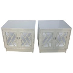 Chinese Chippendale Faux Bamboo Nightstands Chests Mirrored Choose Lacquer, Pair
