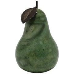 Italian Green Alabaster Mable Decorative Pear Fruit Sculpture