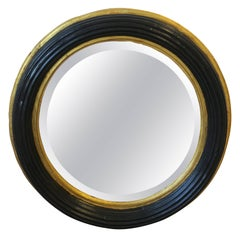 Midcentury Round Black and Gold Beveled Wall Mirror