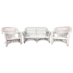 Antique Bar Harbor Three-Piece Wicker Set, Restored