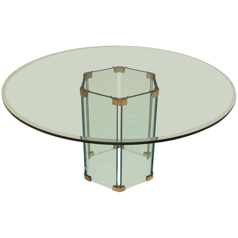 Pace Collection Round Dining Table Hexagonal Glass and Brass Base