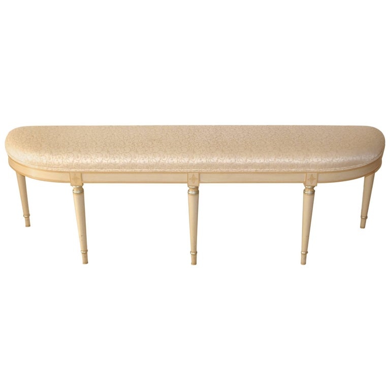 Custom Upholstered Demi-Lune Bench