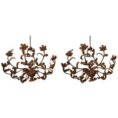 Pair of Belle Epoch Iron Chandeliers