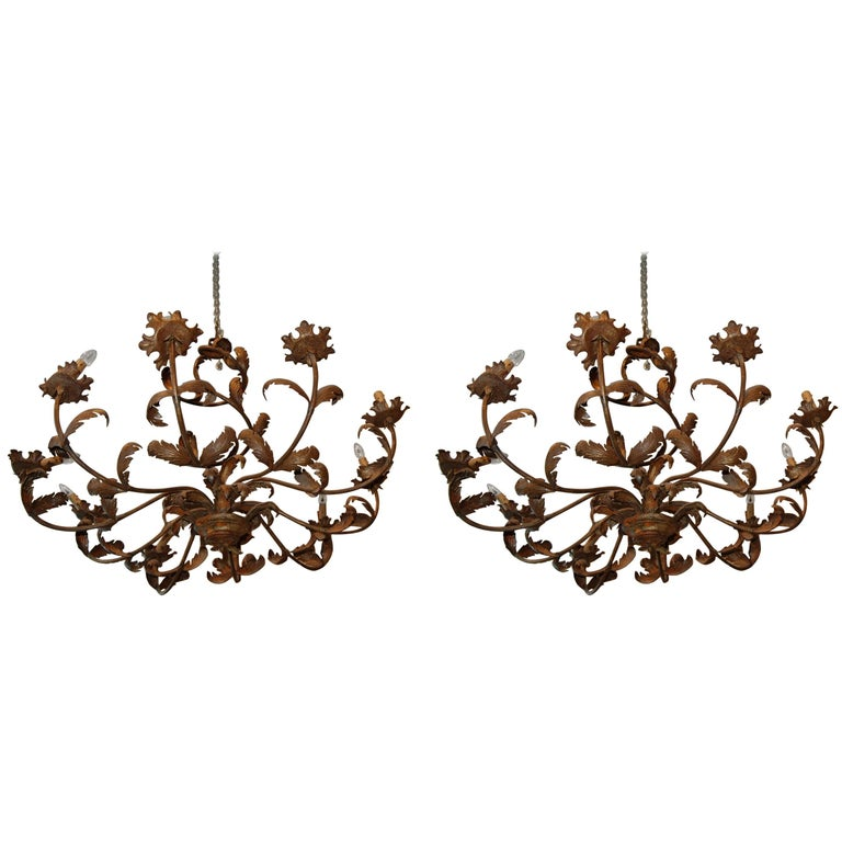 Pair of Belle Epoch Iron Chandeliers 1